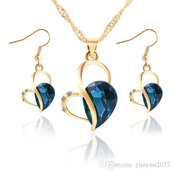 Verkauf Luxus Brautschmuck Sets Hochzeit Kristall Herzen Anhänger Kette Halsreifen Charme Ohrringe Tropfen Baumeln Ohrringe für Frauen