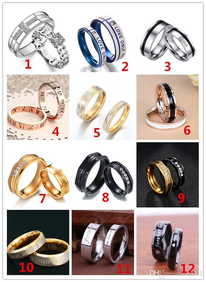 Fashion Titanium Couple Rings Stainless Steel Rings For Womens Men Wedding Rings With Dating Jewelry Engagement Wedding Gift