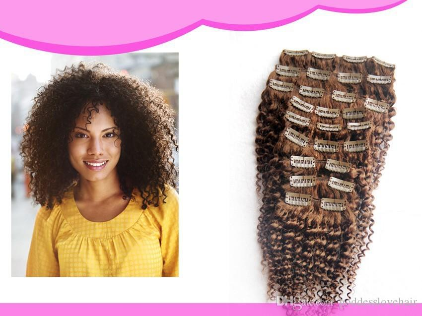 8 Light Brown Afro Kinky Curly Clip In Hair Extensions Human 100g