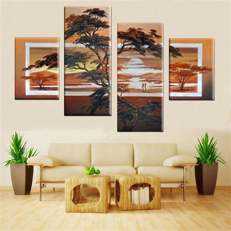 El yapımı 4 adet / takım Tuval Sanat Yağlıboya Resim Sergisi Soyut Resimler Sunrise Ev Dekor Oturma Odası Için