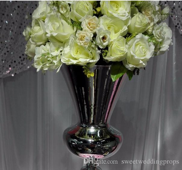 Uzun boylu simli düğün ayağı çiçek standı, koridor dekorasyon için vazo centerpieces