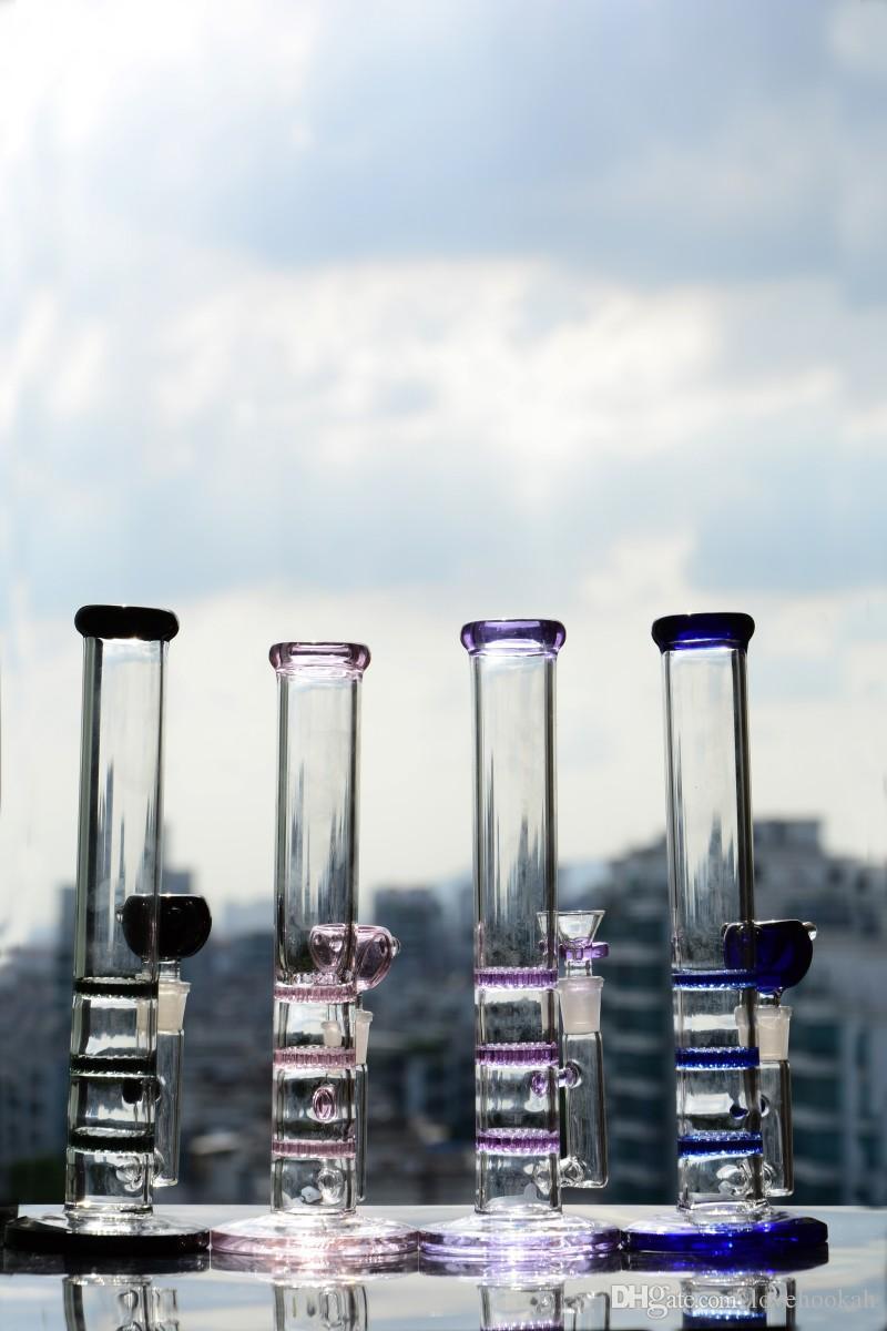 Neueste farbige dicke gerade Glas Bongs Wasserpfeife Shisha Bubbler Recycler Ölbohrinsel
