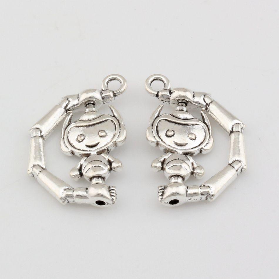 MIC 50pcs New Fashion Antique Silver Alloy Robot Charm Pendants DIY Jewelry 18x26mm
