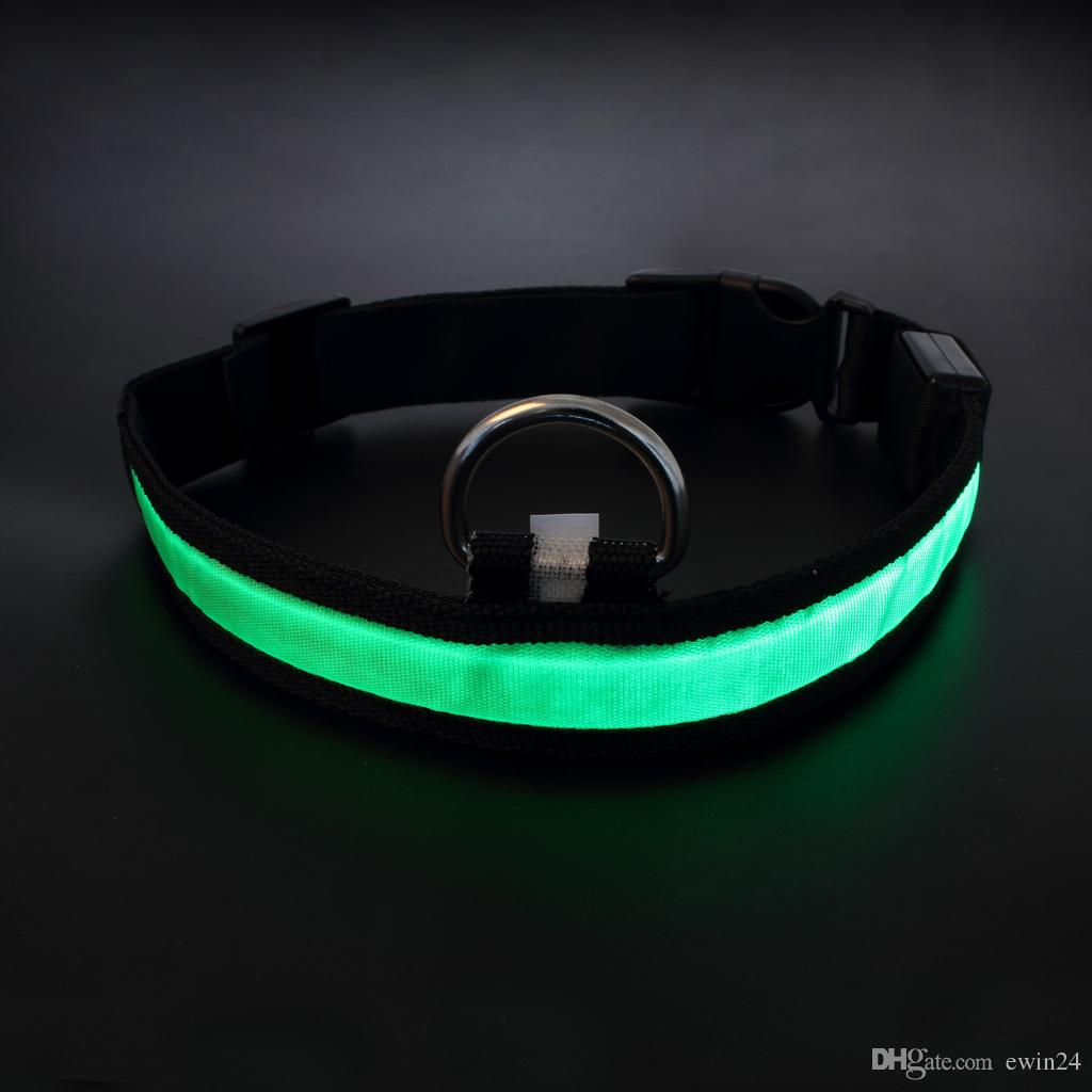 Assorted Color 3 Size LED Pet Dog Cat Flashing Light-up Glow Safety Nylon Collar Christmas Gifts free shipping