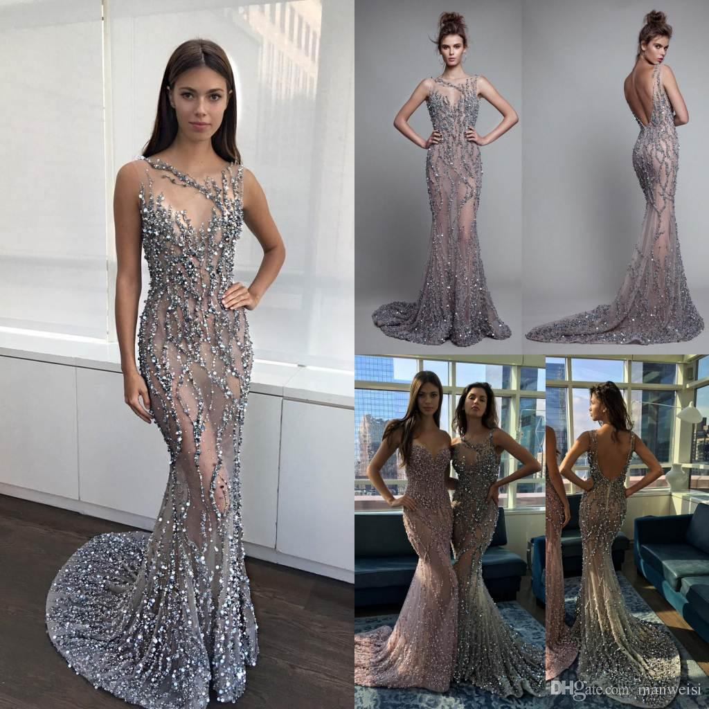 Luxury Berta 2019 Mermaid Evening Dresses Backless Beads Trumpet Prom Gowns Sleeveless Crystal Sequins Sexy Illusion Party Dress