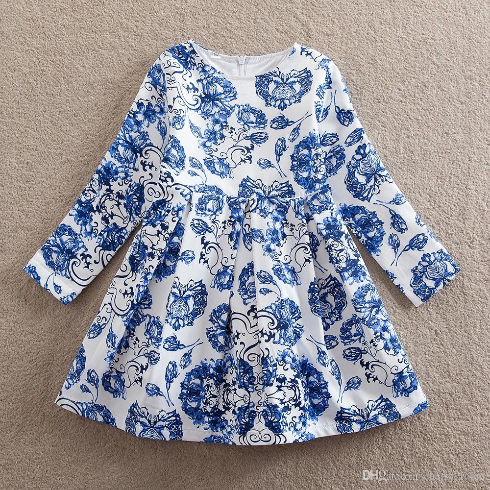 New Baby Girls Princess Dress blue and white porcelain Long Sleeve ...