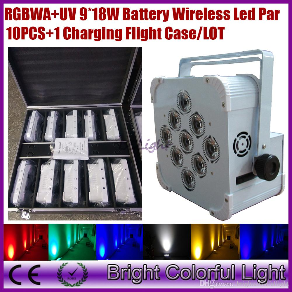 (10lights+1 fly case/lot) China wireless dmx led flat par can/9*18w RGBWAP LED Battery power wireless dmx led par light