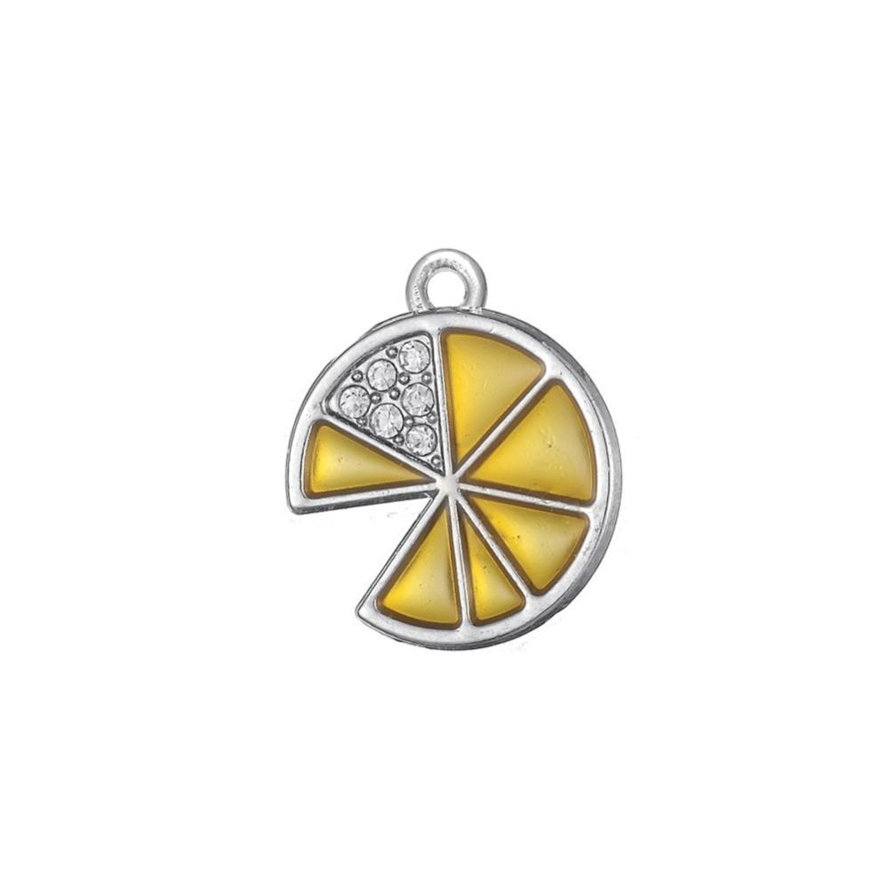 Silver-Plated-Clear-Crystal-Yellow-Enamel-Lemon-Charms-fit-for-Lobster-Claw-Charm-Wholesale-4pcs-lots
