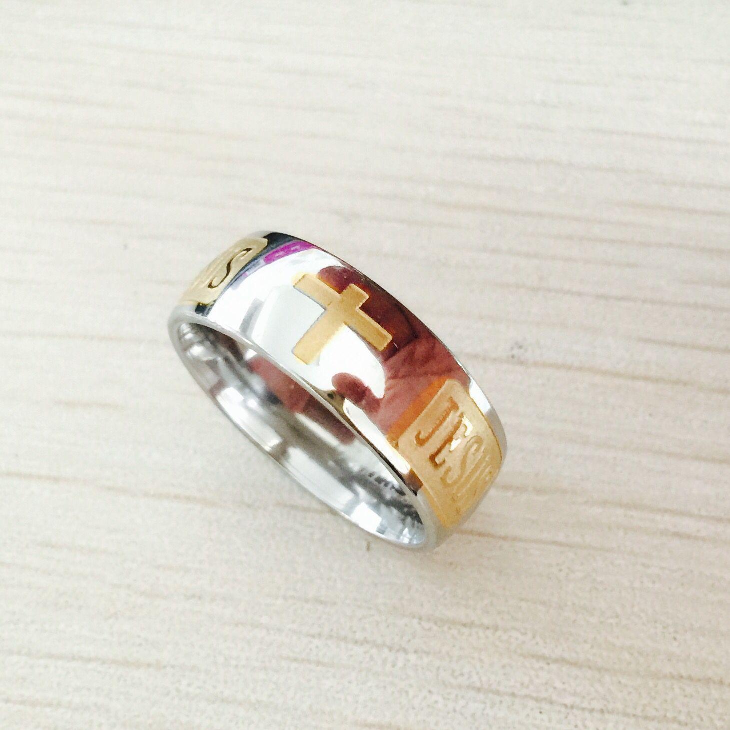 8mm in acciaio al titanio 316 placcato in oro argento anello cristiano gesù croce lettera bibbia argento fede nuziale anello uomo donna