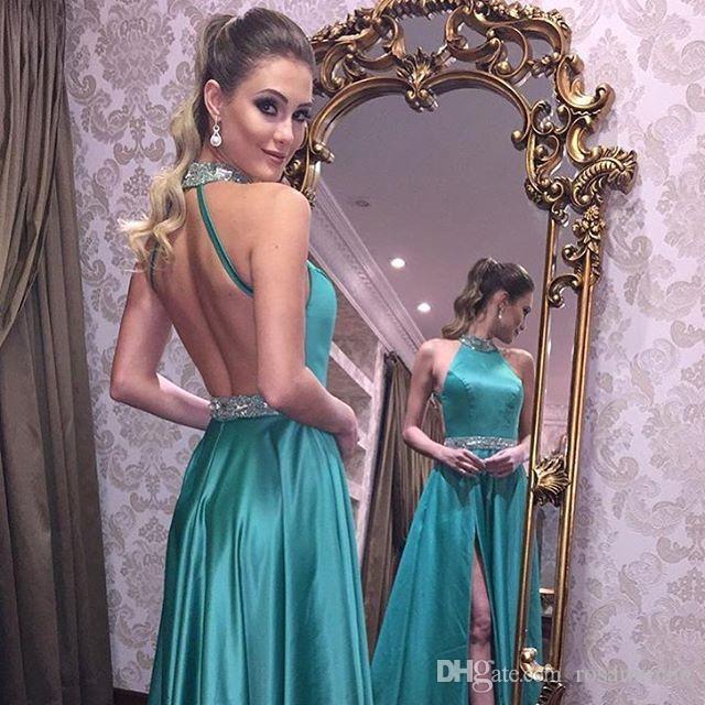 Halter perles robe de bal vert Backless robe de bal sexy fendus robe de bal dos ouvert robe de soirée