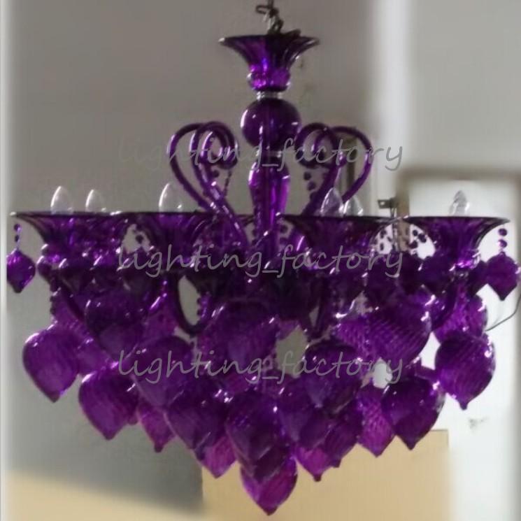 "Bella Vetro 8-Lights 36 ""Aqua soplado Chianti araña de cristal, azul, púrpura, rojo, negro"