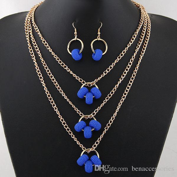 Mode Africain Perles Ensemble De Bijoux Déclaration Or Plaqué Multi couche Collier Ras Du Cou Collier Boucles D'oreilles Parures Bijoux Femmes Accessoires