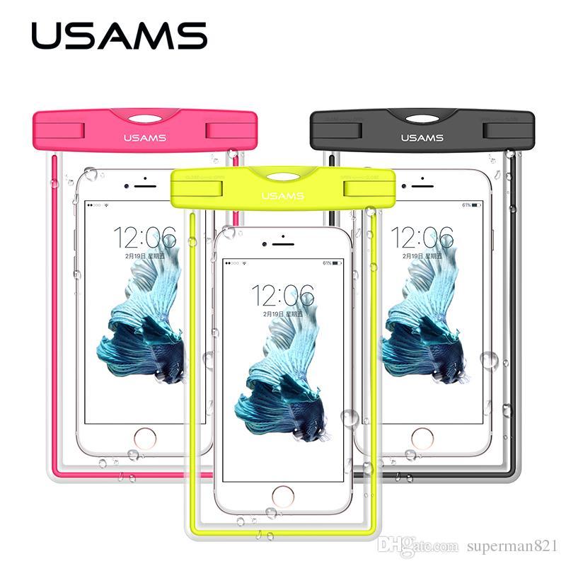 USAMS étui étanche pour téléphone portable étui transparent sac de plage universel pour Samsung S8 S7 pour iPhone 7 7 plus