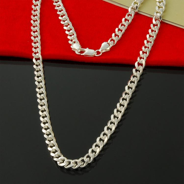 Factory direct wholesale 925 Sterling Silver Necklace 7mm 20 inch buckle sideways silver chain necklace silver necklace for men