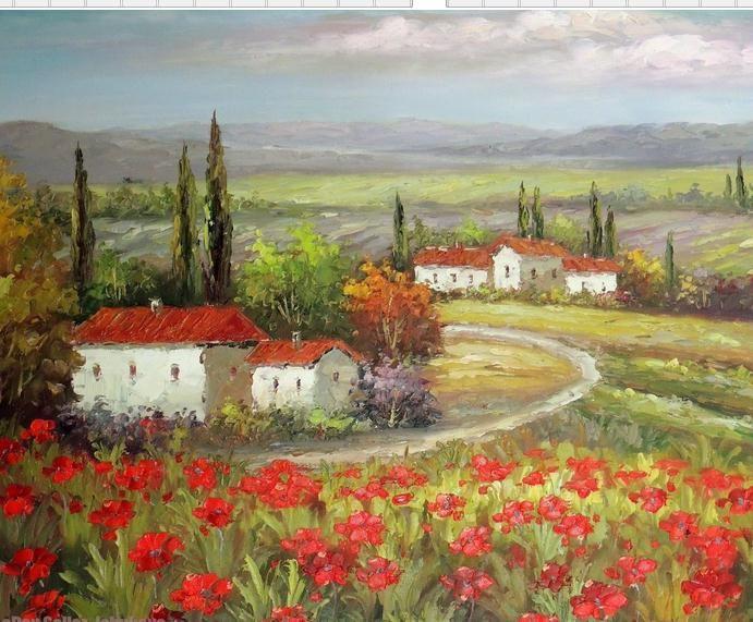 Case coloniche italiane in Toscana Valle del papavero rosso, dipinto a mano / HD Stampa Paesaggio Pittura a olio su tela Dimensioni / Opzioni cornice