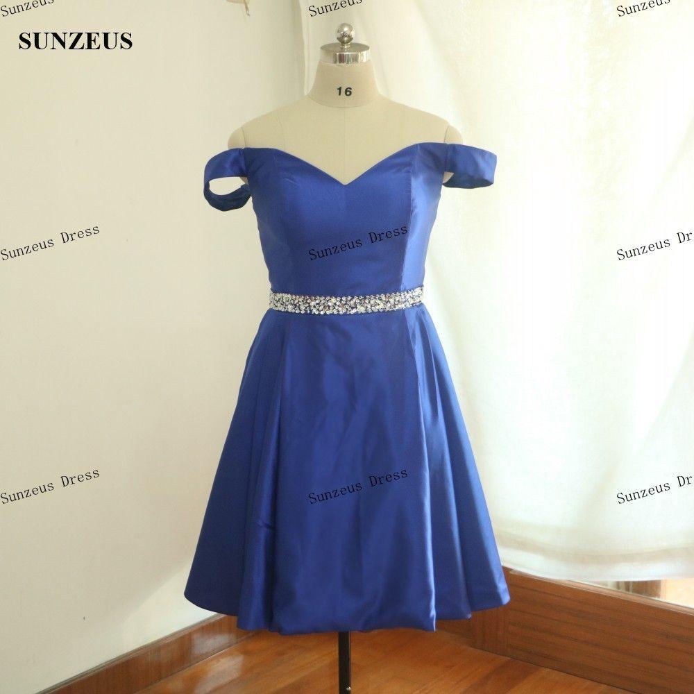 Vestidos de baile curtos fora do ombro vestidos de festa azul royal lantejoulas frisado cintura vestido formal fotos reais frete grátis