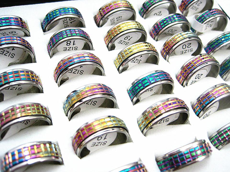 도매 벌크 로트 50pcs 레인보우 컬러 스테인레스 스틸 커팅 스피너 패션 쥬얼리 링 브랜드 새로운 로트