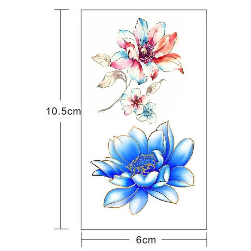 Sexy 3D Lotus Flower Designs Waterproof Body Art Arm Temporary Tattoos Sticker Leg Fake Tattoo Sleeves Paster Free Shipping