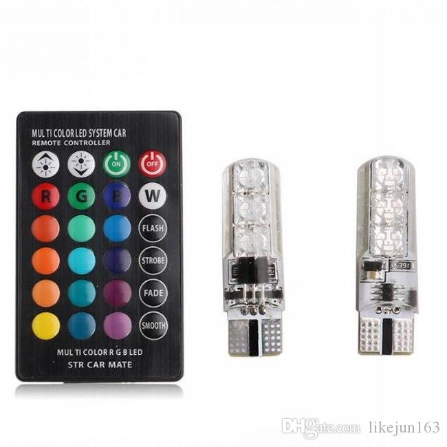 Renkli araba led ışıkları ile T10 W5W RGB denetleyici araba yan kama kuyruk işık park clearancelight