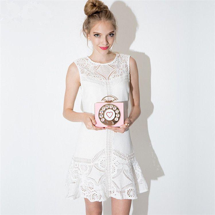 2016 새로운 여름 여자 후크 꽃 패치 워크 드레스 우아한 흰색 민소매 중공 드레스 Vestido 플러스 크기 XXL