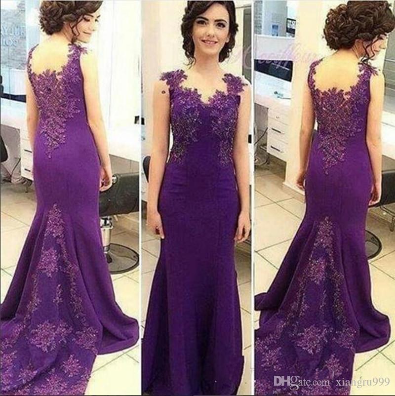Venta al por mayor 2017 Purple Beades madre de los vestidos de novia ...