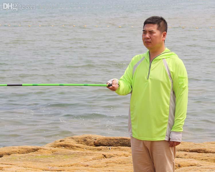 الجملة ذات جودة عالية قميص أزرق أصفر أبيض مقاوم للأشعة فوق البنفسجية تنفس عرق ملابس الصيد واقية من الشمس