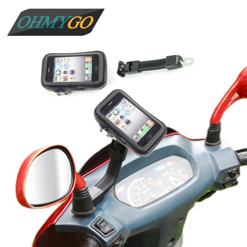 Soporte para teléfono de la motocicleta Espejo retrovisor Soporte para teléfono móvil Funda impermeable para iphoneGalaxy Nota Teléfonos de Huawei Xiaomi etc. GPS
