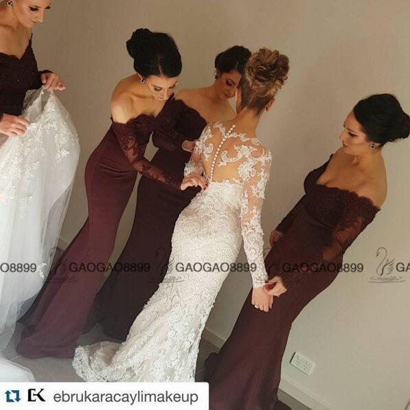 2019 Vintage Burgundy Lace Stain Long Sleeve Mermaid Beach Bridesmaid Dresses Dubai Arabic Style Maid Of Honor Wedding Party Guest Gown Peach