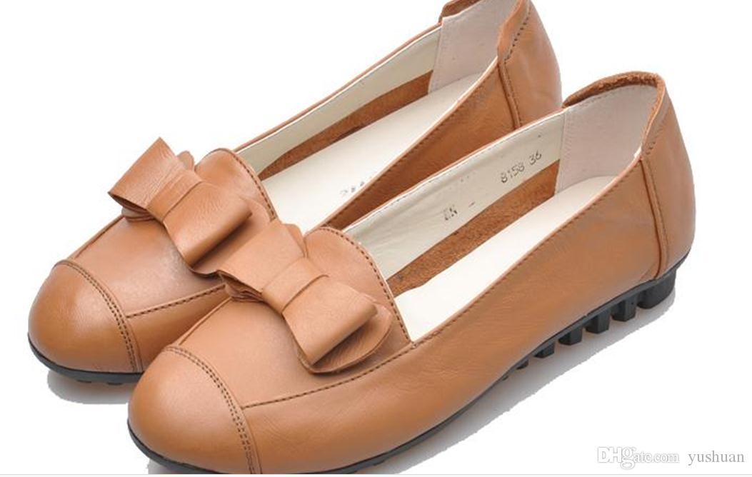2016 yeni sığ ağız ayakkabı deri ayakkabı yuvarlak düz ayakkabı Doug anne yay boyutu ayakkabı