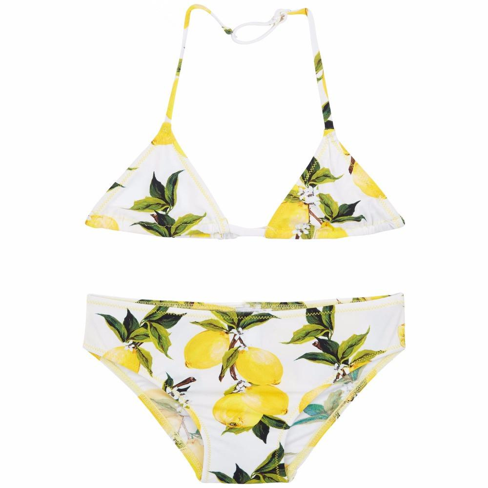 45009c7fbb Girls Swimsuit Kids Swimwear Summer Baby Girls Swimwear Toddler Lemon Print  Children Bathing Suits Girls Bikini FREE SHIPPING