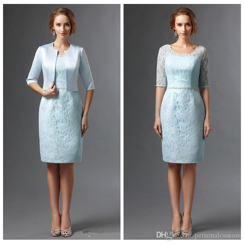 Vogue Lace Full Sheath Knee Length Bridals Mother Dresses Cheap