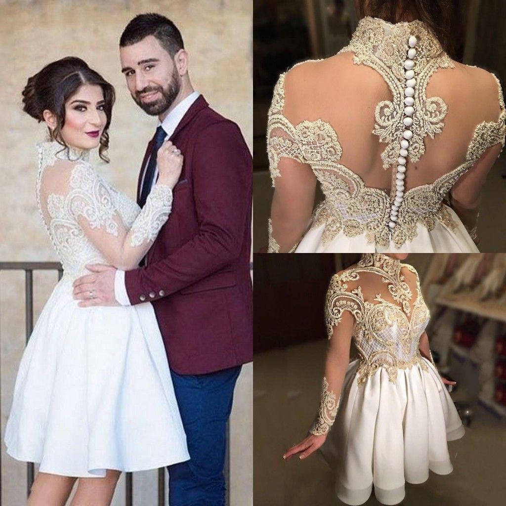 Vintage 2017 corto Mini vestidos de novia de cuello alto Illusion apliques de encaje con cuentas escarpado botón trasero de manga larga satinado más el vestido nupcial