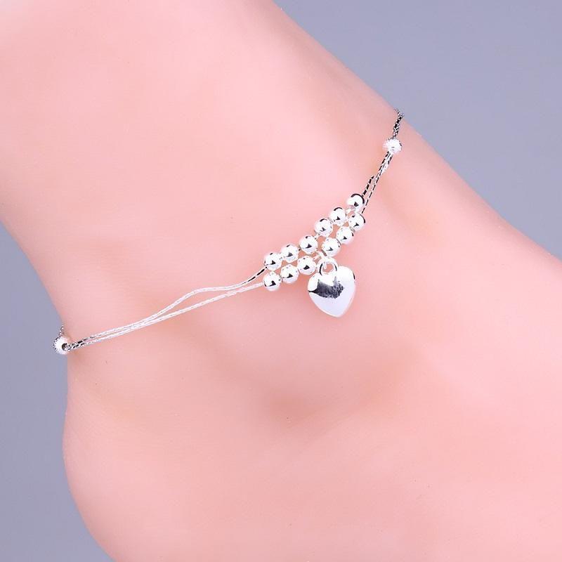 925 joyería de plata para las tobilleras para mujer de doble capa de plata corazón perlas pulseras de tobillo verano joyería de la joyería del pie del cuerpo joyería