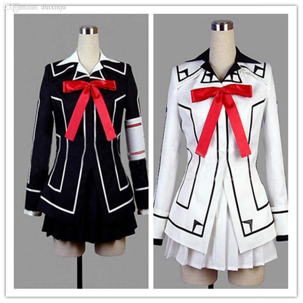 All'ingrosso-Special vendita Vampire Knight Yuki Cross vestito uniforme costume cosplay nero o bianco