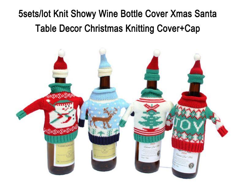 Knit Showy Wine Bottle Cover Xmas Santa Table Decor Knitting ...