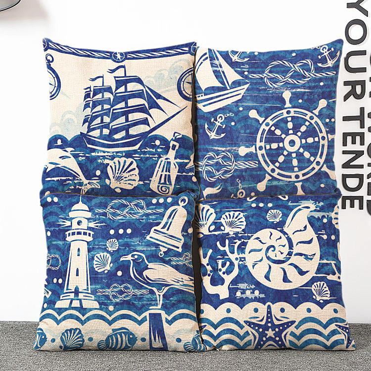 Nouveau à la voile de vent bleu océan voile frais housse de coussin oreiller lin conque