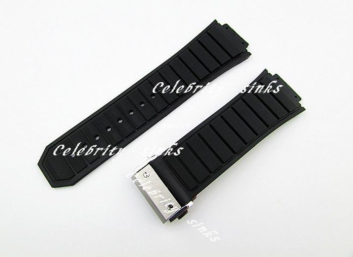 30mm X 19mm 새로운 고품질의 스테인레스 스틸 실버 버클 블랙 실리콘 고무 시계 밴드 스트랩