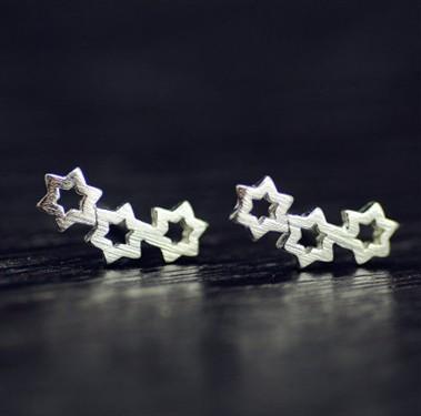 Brincos Para Meninas / Senhoras S925 Prata Esterlina 3 Oco Out Estrelas Stud Brincos Ear Studs Ear Pins Womens Jóias