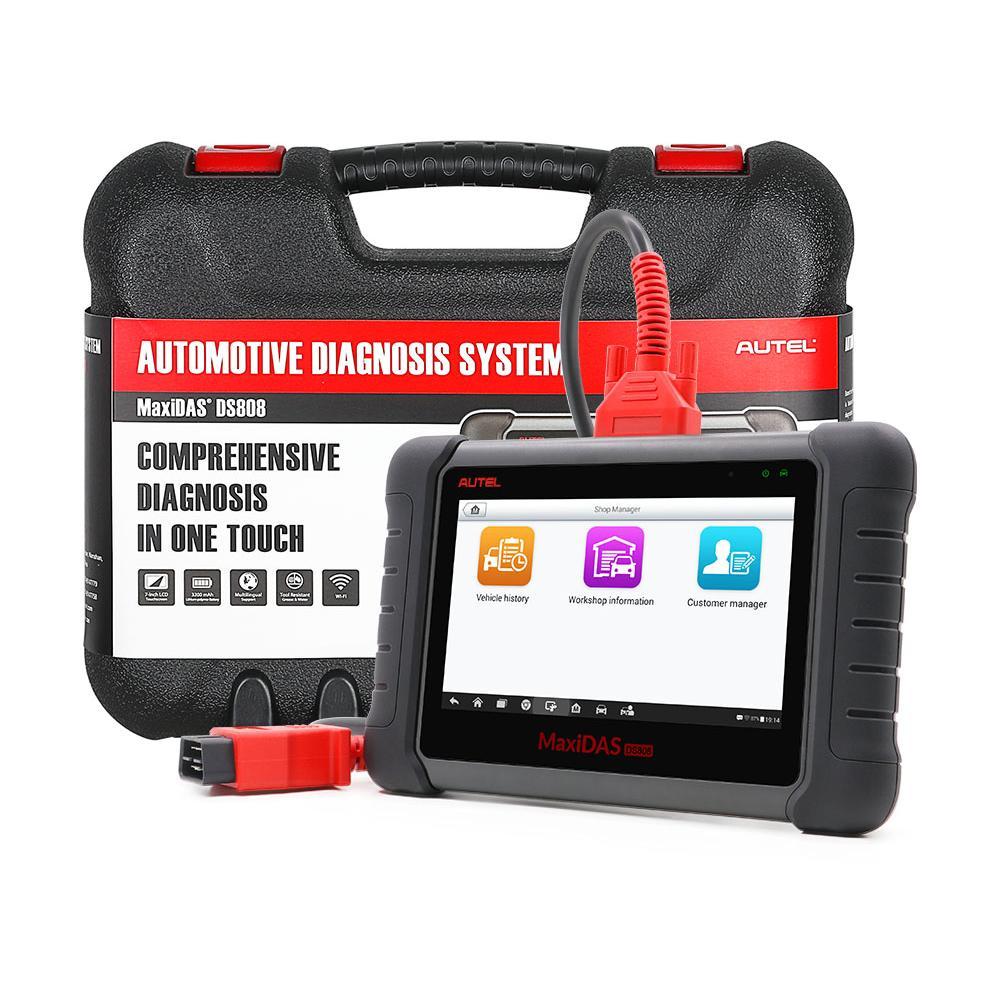 AUTEL MaxiDAS DS808 KIT Tablet Tool Tool مجموعة كاملة OBD2 الماسح الضوئي دعم حاقن مفتاح الترميز مع شاشة تعمل باللمس المحمولة تحديث الانترنت
