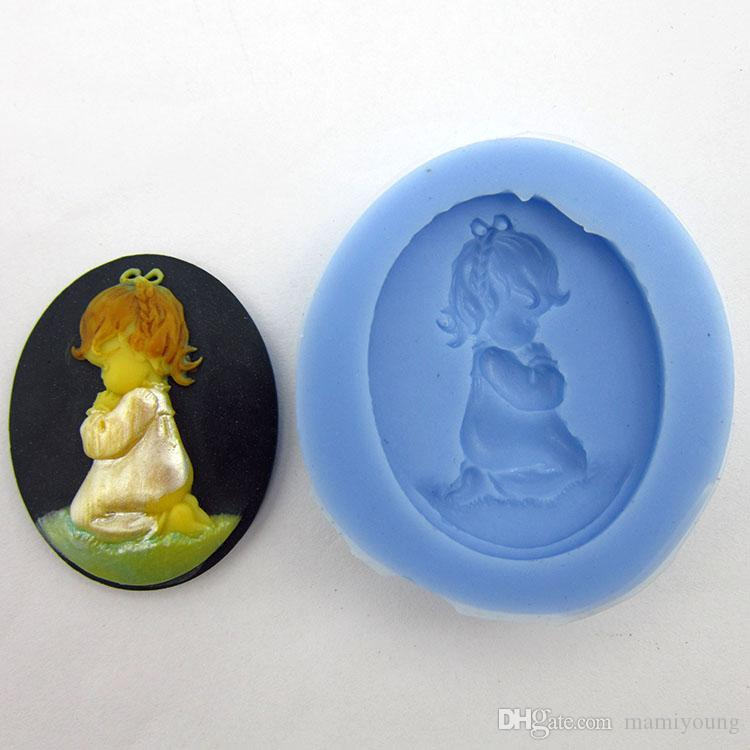 A1005 Prayer Angel baby shape chocolate silicon mold fondant Cake decoration tools