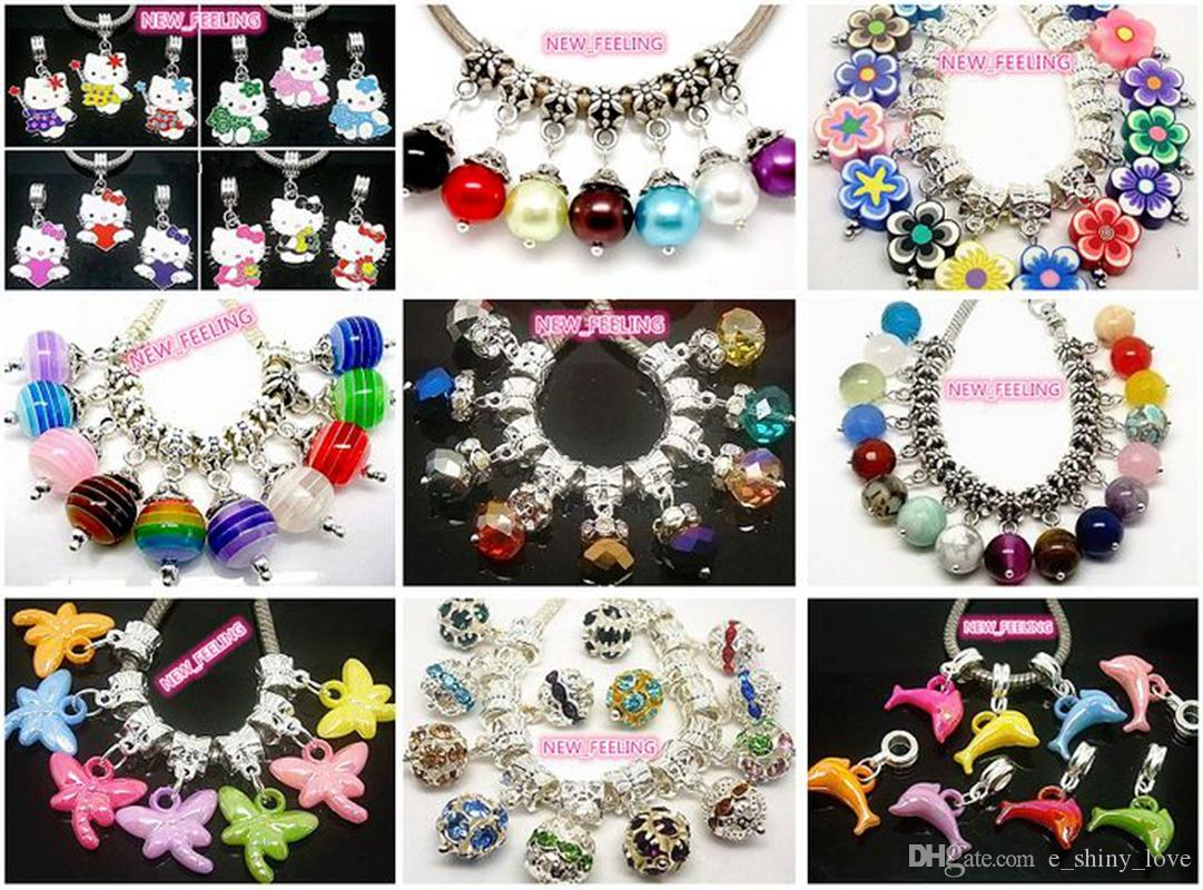 Wholesale 100pcs/lot Mixed Style Crystal/Rhinestone Beads/Bells Dangle Pendants fit European Bracelet & Necklace DIY Jewelry Making