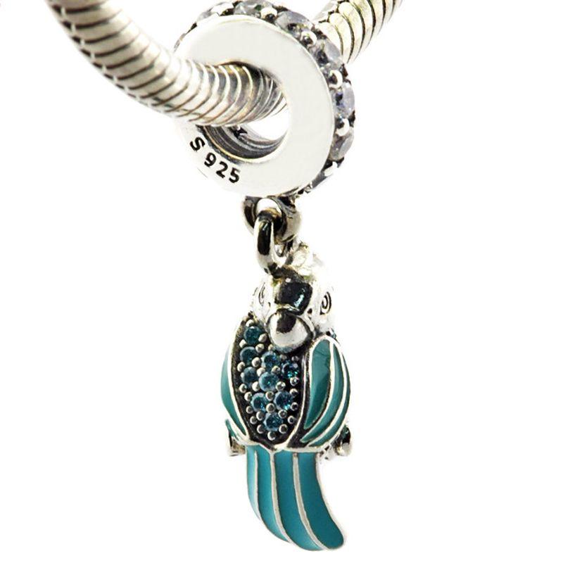 Tropische Papagei Mixed Enamels Teal klar CZ 2016 Sommer 100% 925 Sterling Silber Perlen passen Pandora Charms Armband authentische Schmuck