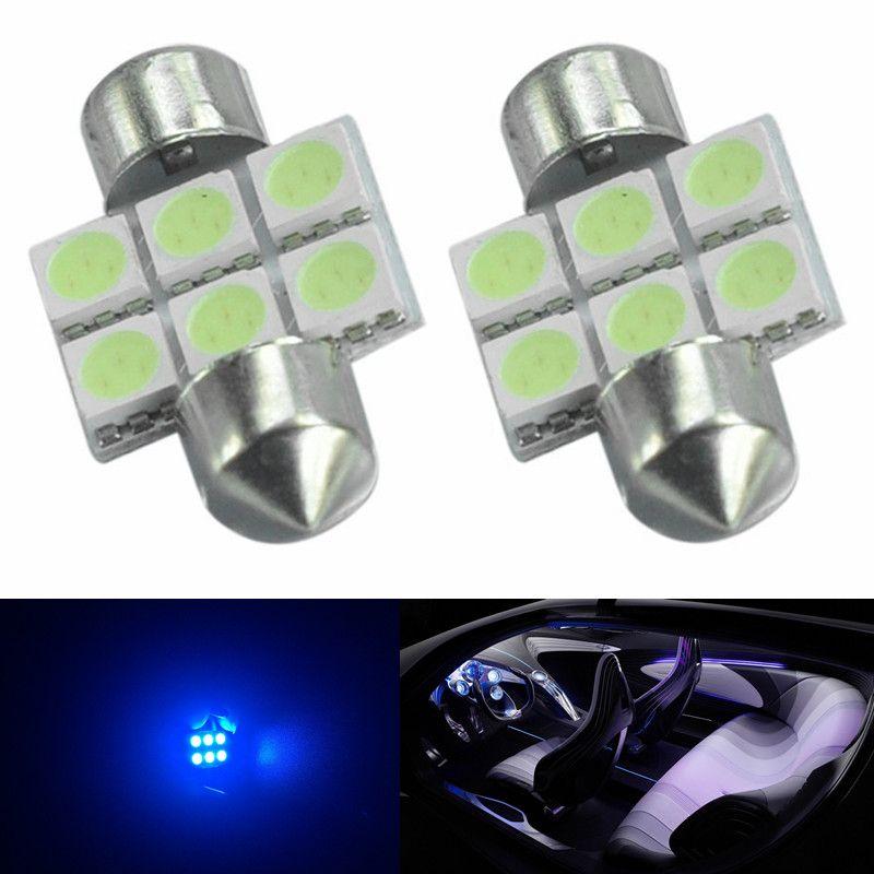10pcs Ice Blue 31 milímetros 6-SMD 5050 Car TRACK Interior Reading Lâmpadas Festoon Dome Light LED Lamp