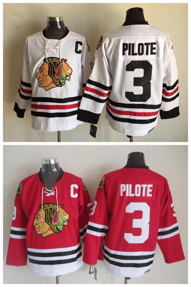 Top Qualität ! Männer Chicago Blackhawks-Eishockey-Jerseys preiswerte 3 Pierre Pilote Retro Weinlese CCM authentischer genähter Jerseys-Mischungs-Auftrag!