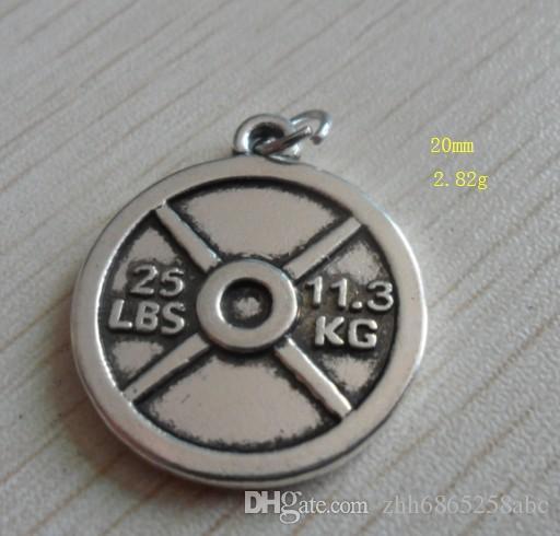 GYM Takı Ücretsiz Kargo son tasarım moda Antik gümüş 50 adet 1 grup Vintage Daire 25LBS 11.3 KG Ağırlık Plakası Charms