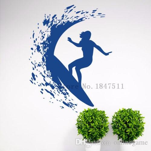 Wall Stickers Decal Art Decor Vinyl DIY home decor Art Poster Wall Decal Sticker Vinyl Mural Surfer Girl Woman Surfing 62*80 cm