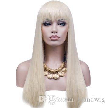 WIG Best Quality #60 Platinum Blonde 150% Density Full Lace Wig Human Hair Virgin Brazilian 100 Glueless Full Lace Wig silky Straight Kabell