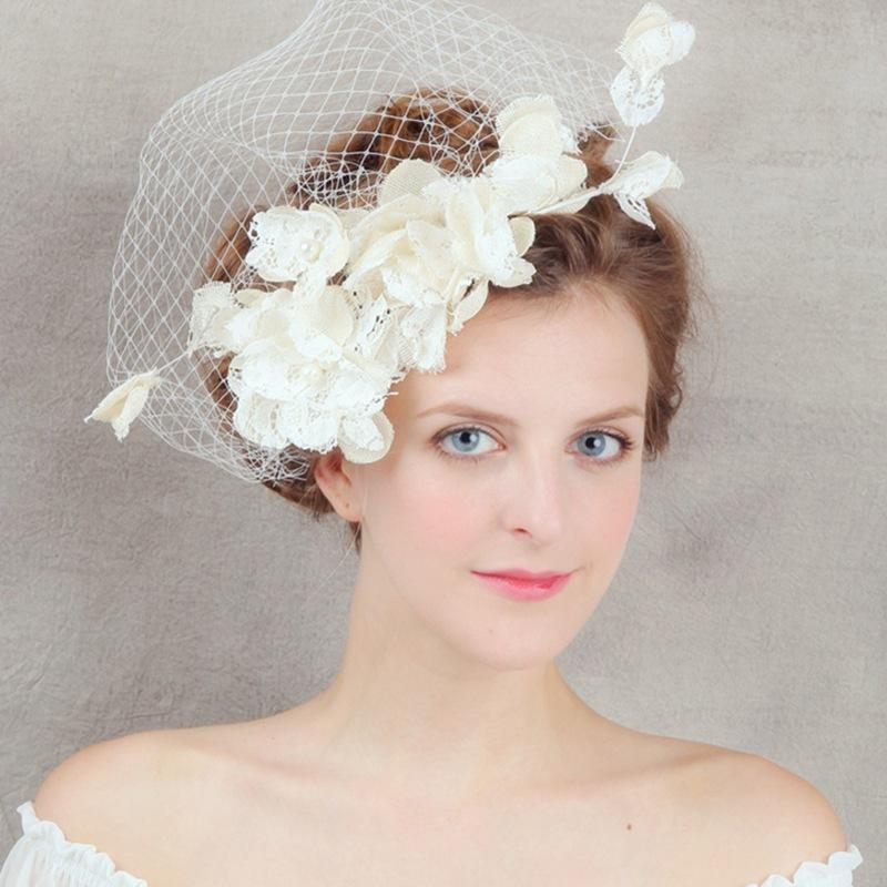 Vintage Wedding Bride Head Veil Tulle Bridal Accessories Top Flower Hat Cap Clips Lace Hair Clip Costume Hair Accessories for Party