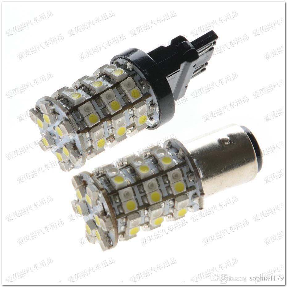 Super Brillante 10pcs 60 Led 1156 1157 7440 7443 3156 3157 Lámpara de señal de giro 3528 60smd Bombilla de freno de luz trasera 60 SMD