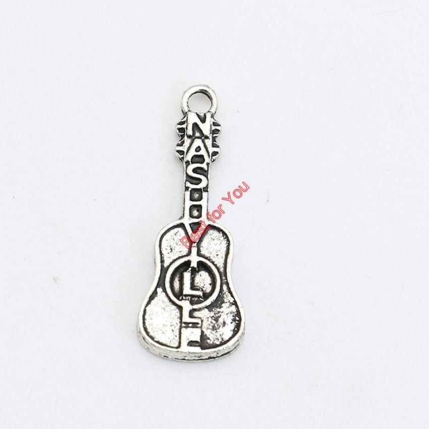 30pcs argento placcato tibetano chitarra musicale charms ciondolo bracciali collana creazione di gioielli accessori fai da te 28x10mm
